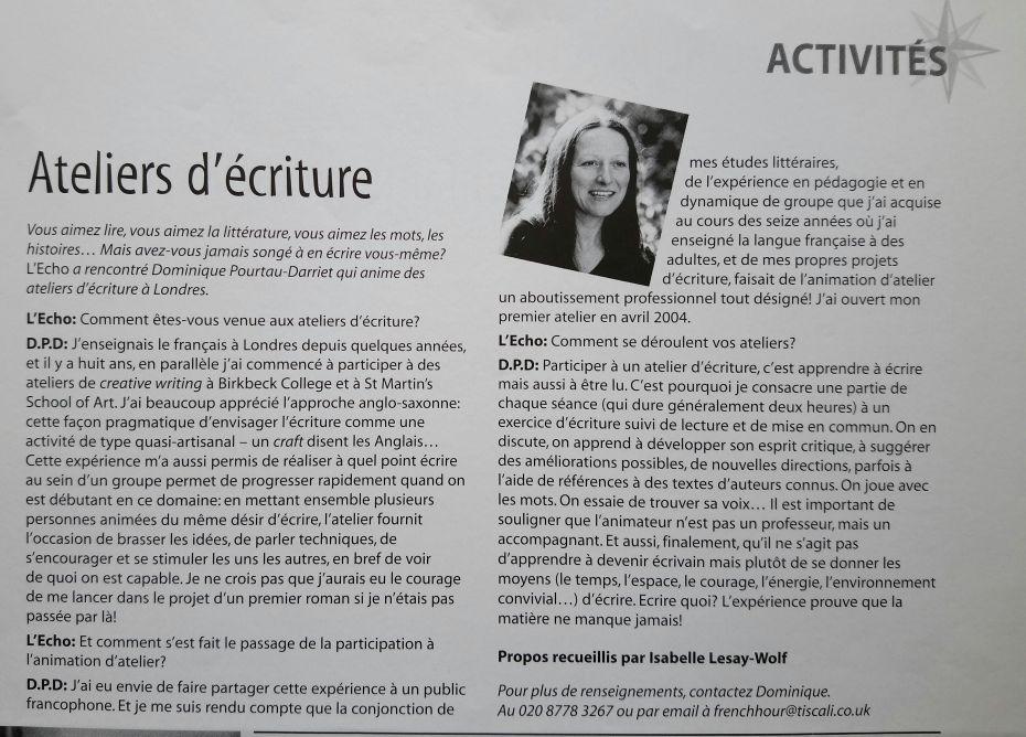 Article de L'Echo sur mon premier atelier OCT-NOV 2004