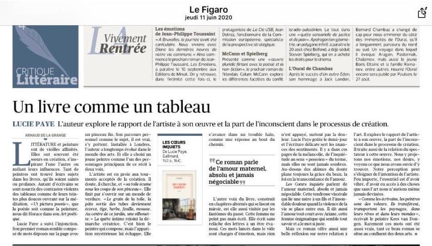 Article du Figaro sur Les coeurs inquiets- Juin 2020